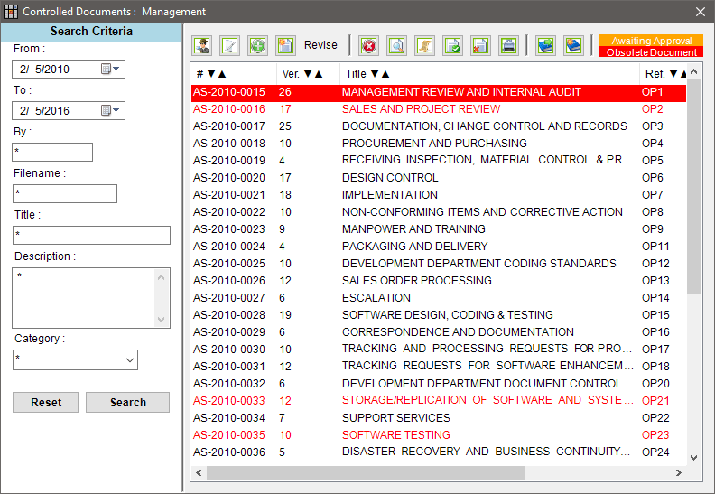 ISO 17025 Documentation within Matrix Gemini LIMS - Document