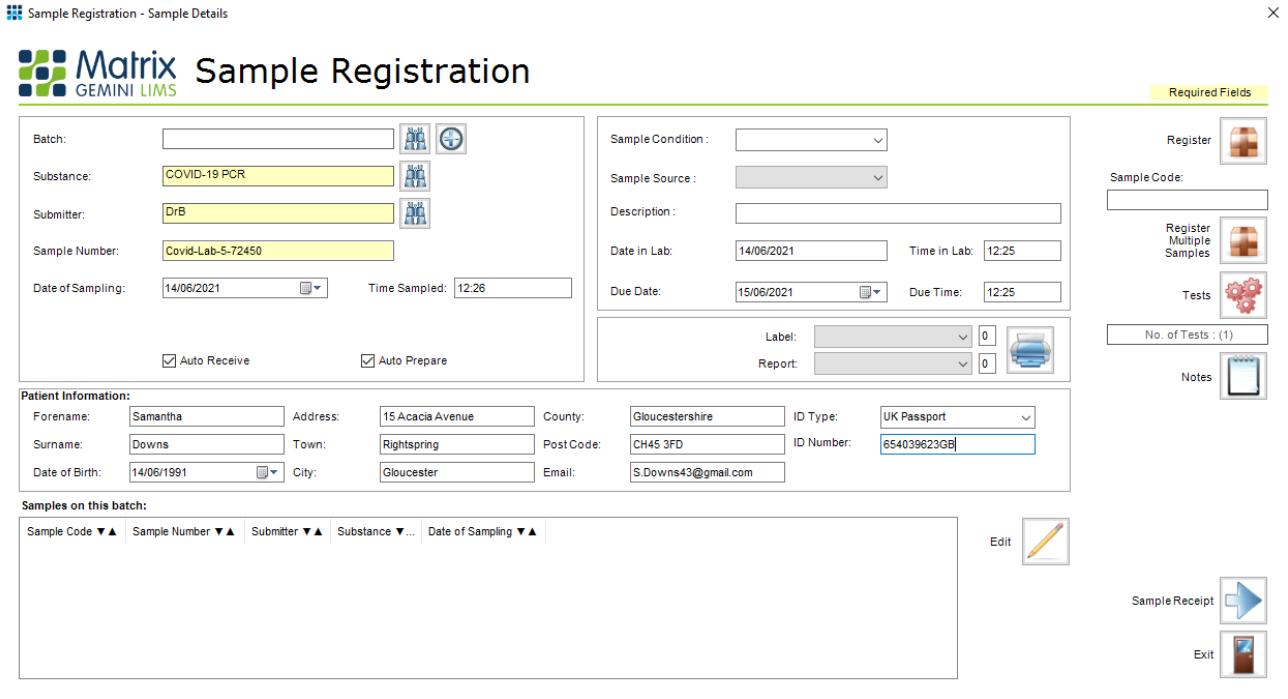 Covid LIMS Registration